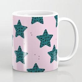Leopard Star Teal Patern Design Print Coffee Mug