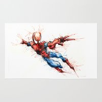 spider man Area & Throw Rugs featuring Spider-Man by Nicola Girello