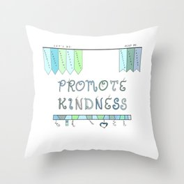 Promote Kindness Word Art in Blues and Greens Throw Pillow