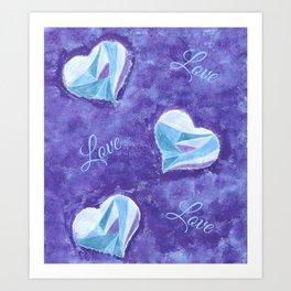 Blue hearts pattern Art Print