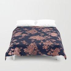 Modern elegant navy blue faux rose gold floral Duvet Cover