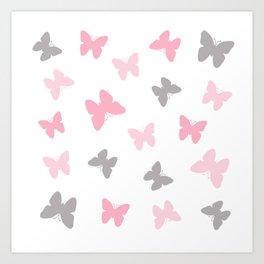 Pink and Grey Gray Butterflies Art Print
