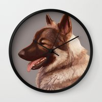 german shepherd Wall Clocks featuring German Shepherd by Lauren Rakes