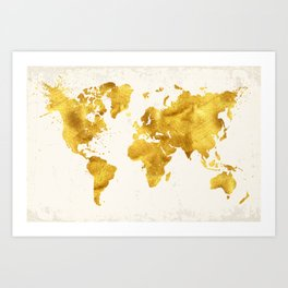 24 Karat World, faux gold world map Art Print