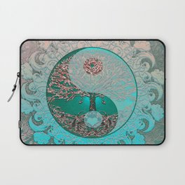 Pretty Chic Teal Tree of Life with Yin Yang and Heart Laptop Sleeve