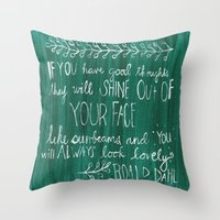 roald dahl Throw Pillows featuring Good Thoughts by rags