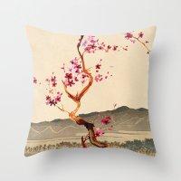 sakura Throw Pillows featuring Sakura by Ned & Ems