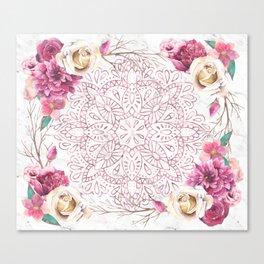 Rose Gold Mandala Garden on Marble Canvas Print