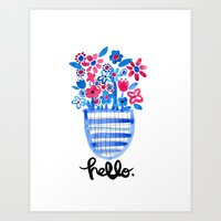 Red and Blue Flowers Art Print