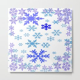 BLUE & PURPLE WINTER SNOWFLAKES ART ABSTRACT Metal Print