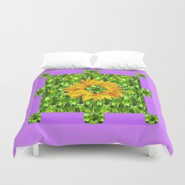August  Peridots Gemstones & Yellow Sunflower  Lilac Abstract Duvet Cover