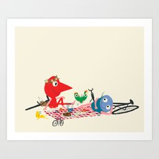 Bikers Picnic Art Print