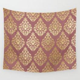 Burgundy rose gold elegant damasque Wall Tapestry