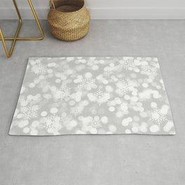 Christmas Snowflakes Bokeh Silver Pattern Rug