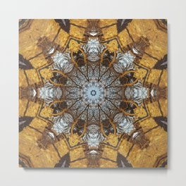 Golden stone, blue sky and arching branches kaleidoscope Metal Print