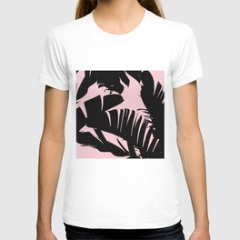 Unique Black and Pink Tropical Banana Leaves Pattern T-shirt