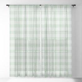 Gingham Pattern - Light Green Sheer Curtain