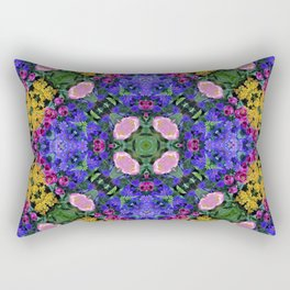 Floral Spectacular: Blue, Plum and Gold - repeating pattern, diamond, Olbrich Botanical Gardens, Mad Rectangular Pillow