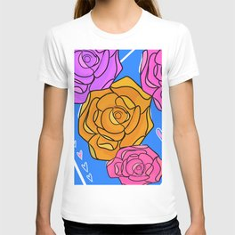 Funky roses are orange, love. T-shirt