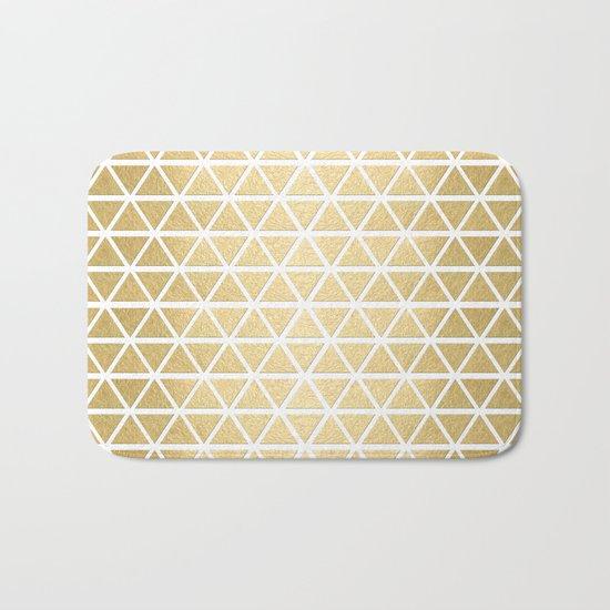 White and Gold Geometric Pattern 3 Bath Mat