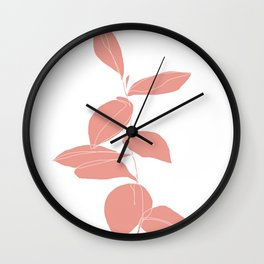 One line plant drawing - Berry Pink Wall Clock