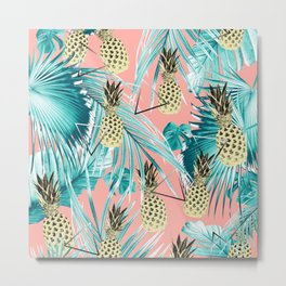 Tropical Pineapple Jungle Geo #6 #tropical #summer #decor #art #society6 Metal Print