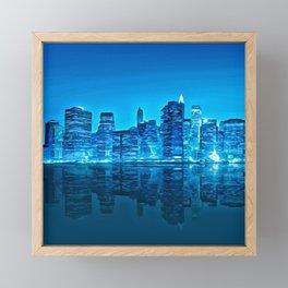 Blue Cityscapes Framed Mini Art Print