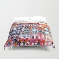 takmaj Duvet Covers featuring Apartment House in Poznan and orange umbrellas by takmaj