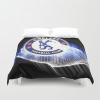 chelsea Duvet Covers featuring chelsea,chelsea  games, chelsea  blanket, chelsea  duvet cover, chelsea  shower curtain,  by ira gora