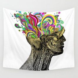 Bright neon pink yellow abstract anatomical skull Wall Tapestry