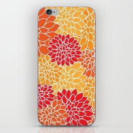 Dahlia Flowers, Petals, Blossoms - Orange Red iPhone Skin