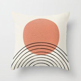 Orange Sun Mid-Century Full Throw Pillow