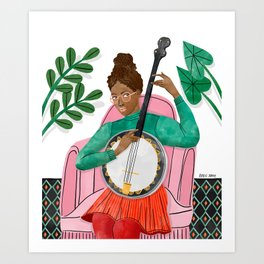 Banjo Girl Art Print