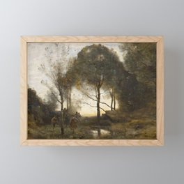Jean-Baptiste-Camille Corot - Nymphs and Fawns Framed Mini Art Print