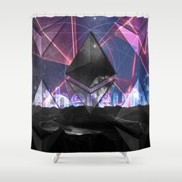 Ethereum Moon and Stars landscape Shower Curtain