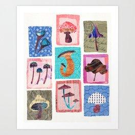 Candy Colored Mushrooms  Art Print