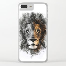 Lion Face Painting Clear iPhone Case