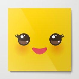 Kawaii Cartoon Face on yellow background Metal Print