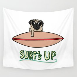 Surf's Up Pug Wall Tapestry