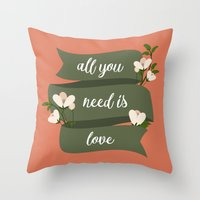 all you need is love Throw Pillows featuring All you need is love by Juliana RW