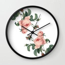 Butterflies in the Rose Garden on White Wall Clock
