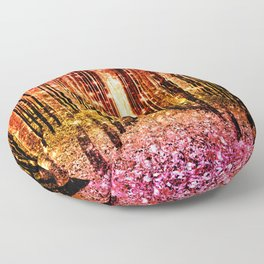 Magical Forest Sunset Pink Floor Pillow