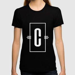 Modern Monogram  Letter C Black and White T-shirt