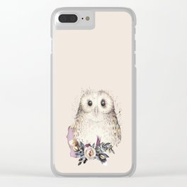 Boho Illustration- Be Wise Little Owl Clear iPhone Case