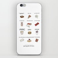 parks and rec iPhone & iPod Skins featuring Foods of Parks and Rec by Tyler Feder