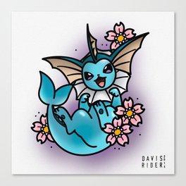 Vaporeon Tattoo Flash Canvas Print