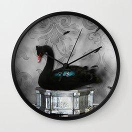 Wonderful black swan with dark mermaid Wall Clock