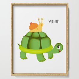 Cute Snail Riding Turtle Adorable Animal Serving Tray
