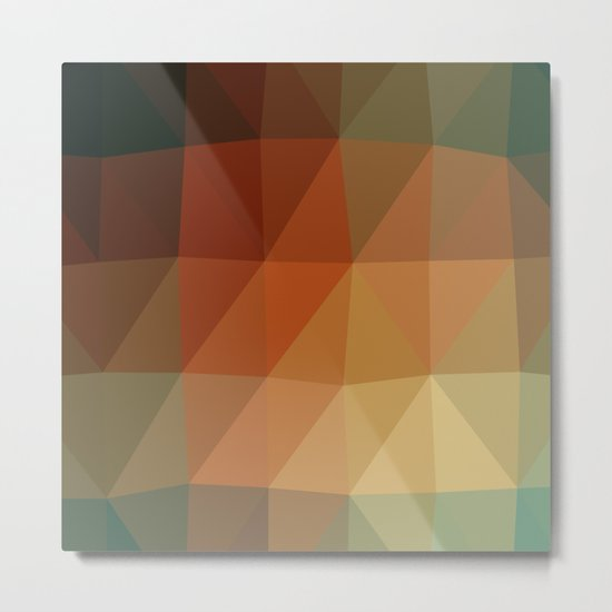 Shades Of Green And Brown Triangle Abstract Metal Print