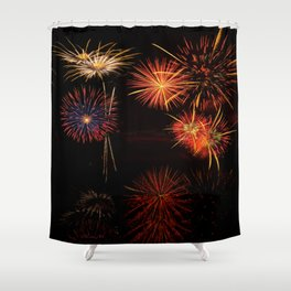 Fireworks Reflection In Water - OLena Art Shower Curtain
